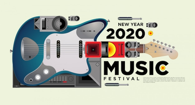 Музыкальный фестиваль горизонтальный дизайн шаблона плаката