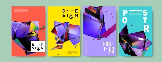カラフルな抽象的な形状の三角ポスターとカバーのデザイン