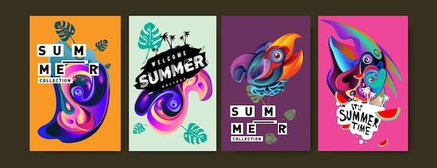 Набор летней иллюстрации для плаката