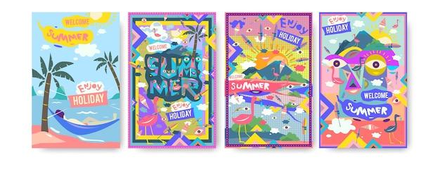 ポスターのための夏のイラストのセット