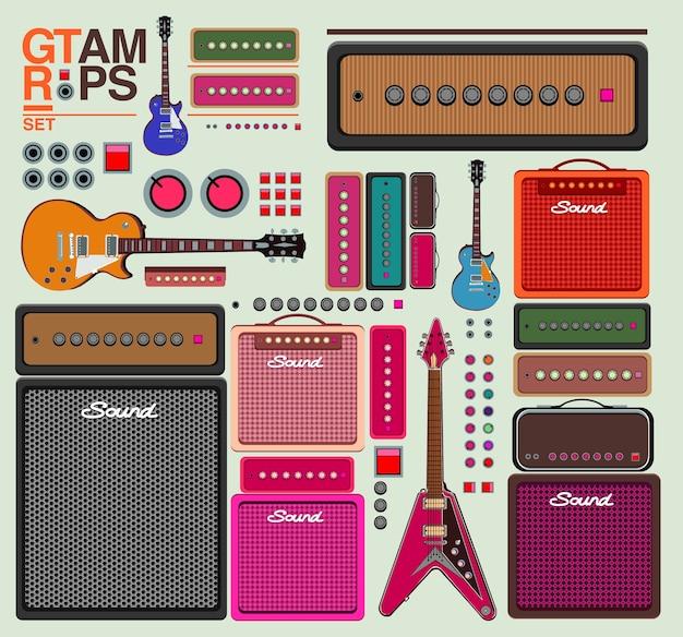 Набор векторных гитар и музыкальный инструмент усилителя