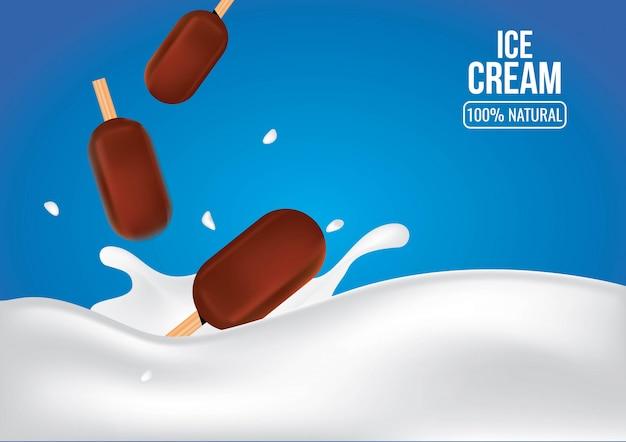 Шоколадное мороженое на молочном всплеске