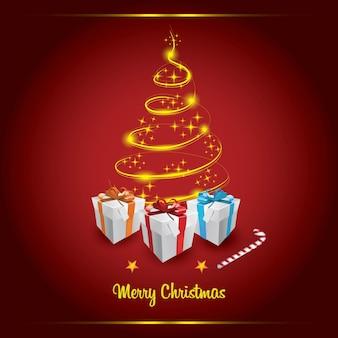 クリスマスの金の木とギフトボックス