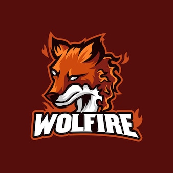 オオカミ消防のロゴのマスコットイラストレーション