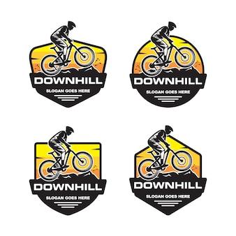 下り坂のロゴのテンプレートのセット