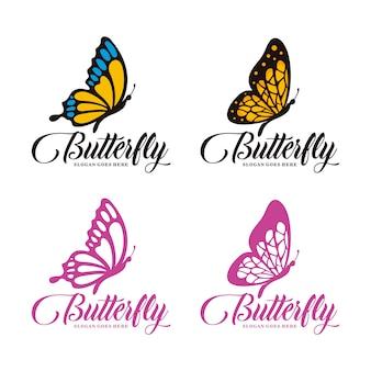 蝶のロゴのテンプレートのセット