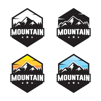 Набор горных логотипа шаблона