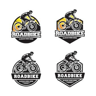 自転車ロードバイクのロゴのセット
