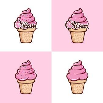 Шаблон логотипа мороженого