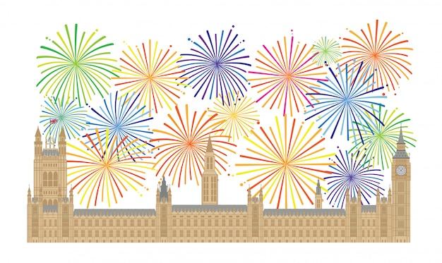 ウェストミンスター宮殿と花火イラスト