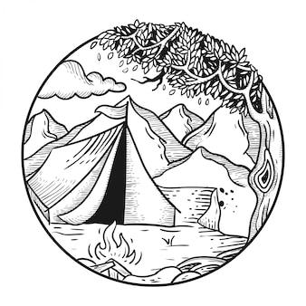 山のキャンプ