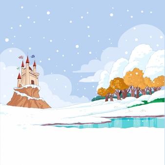 雪の冬の城