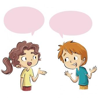 話す子供のグループ