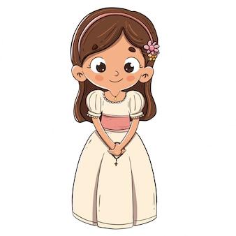 最初の聖体拝領をする少女