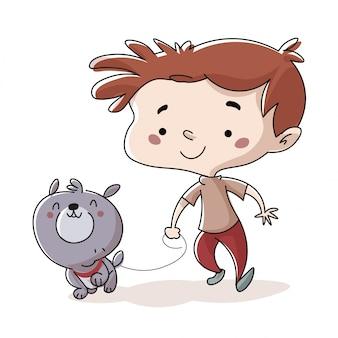 Ребенок гуляет с собакой в парке