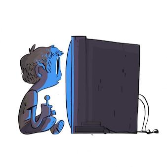 ゲーム機をしている少年