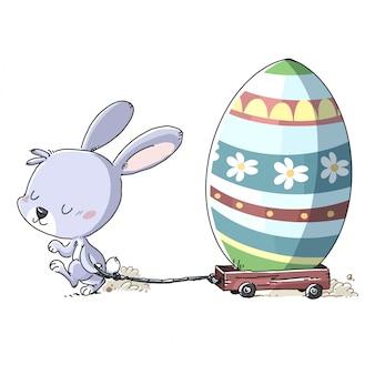 イースターのウサギ、卵を運ぶカート
