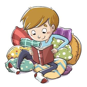 読んでいる少年