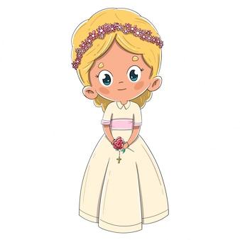 最初の聖体拝領の金髪を作る小さな女の子