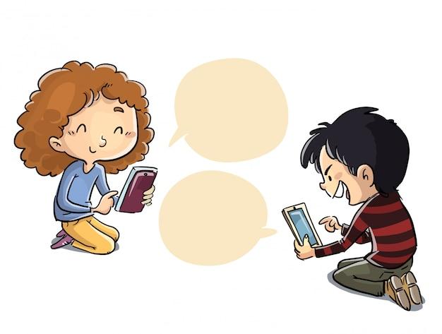 ソーシャルネットワークを介して通信する子供たち
