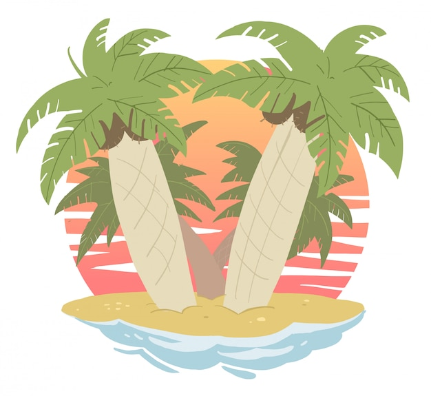 海のヤシの木の島