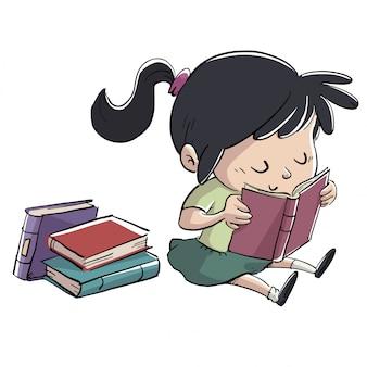 本を読んで床に座っている女の子