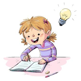 Девушка пишет в тетради