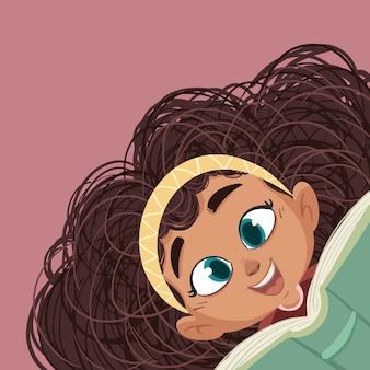 Лицо маленькой девочки с книгой