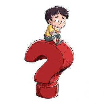 Мальчик с гигантским вопросительным знаком