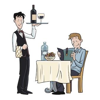 Официант, обслуживающий клиента в ресторане