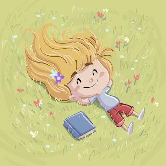 本でフィールドに横たわっている少女