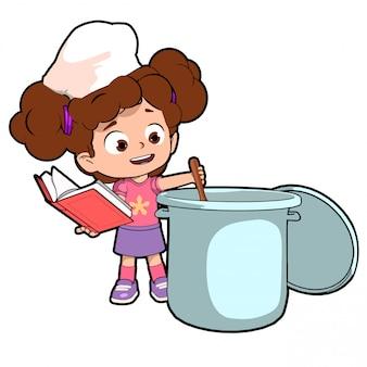 レシピを作るキッチンの子供