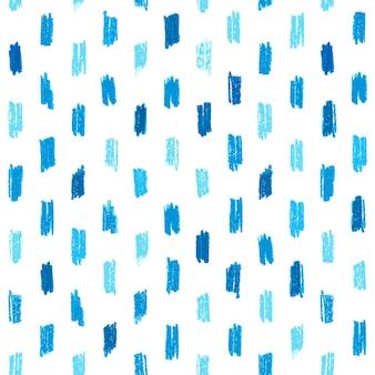 青い手で描かれたクレヨンのストロークシームレスなパターン。