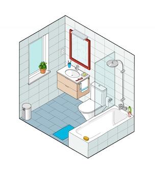 バスルームのアイソメ図。手描きのインテリアビュー。