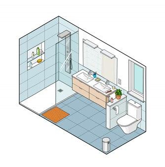 Изометрические иллюстрация ванной комнаты. ручной обращается интерьер.