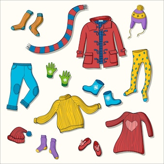 冬の衣類ベクトルイラストのセット