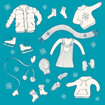 冬の衣料品のセット