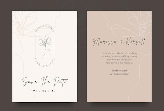クールな花のロゴとエレガントな結婚式の招待カード
