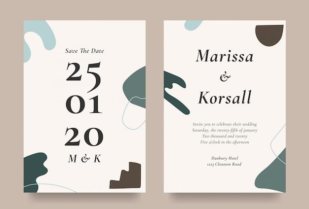 抽象的な形の要素を持つモダンな結婚式の招待カード