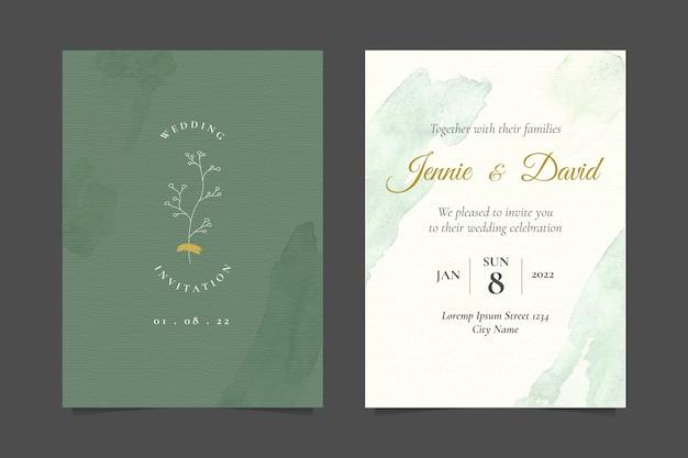 シンプルな植物ラインアートイラストのシンプルな結婚式の招待状