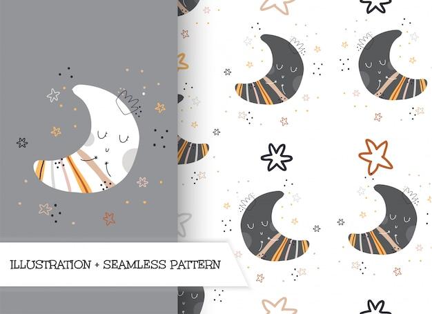 かわいい漫画フラットイラスト月パターン