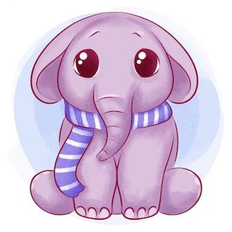 かわいい赤ちゃん象水彩イラスト
