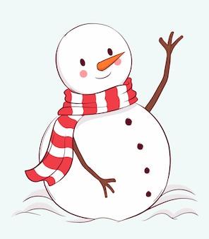 手描きのかわいい雪だるま