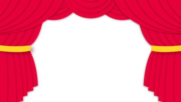 ペーパーカットスタイルのカーテンを開く