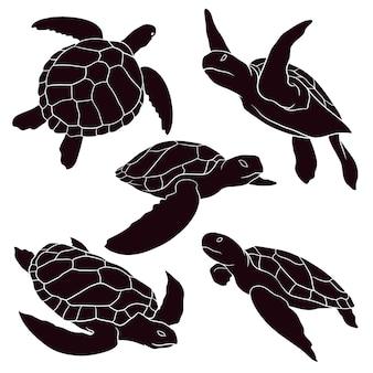 ウミガメの手描きのシルエット