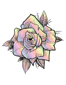 バラの虹の入れ墨