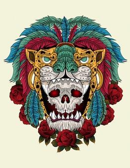 アズテックの戦士の頭蓋骨