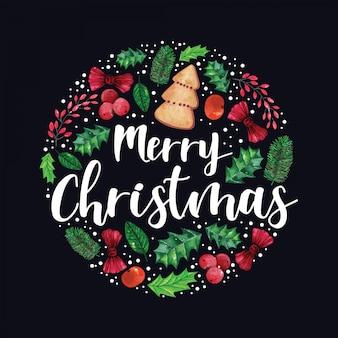 水彩イラストの丸い形の装飾クリスマス飾り