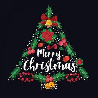 クリスマスの飾りから形成された松の木