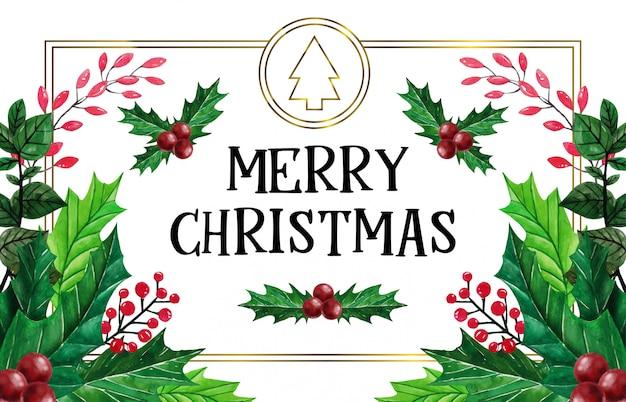 水彩イラストの美しいクリスマス